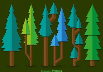 Flat green pine vectors - vector gratuit #328259