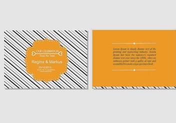 Bold Orange Wedding Invitation Vector Template - vector gratuit(e) #328299