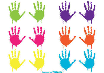 Colorful Dripping Child Handprints Set - vector gratuit(e) #328309