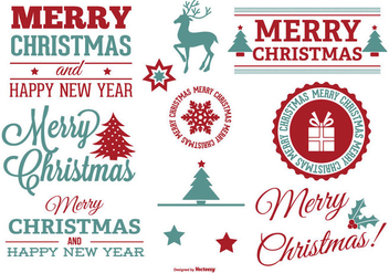 Beautiful Christmas Label Set - vector gratuit #328319