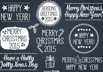 Hand Drawn Style Christmas Label Set - Free vector #328879