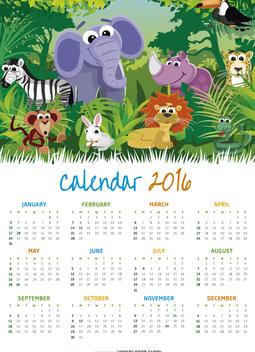 Animal Children 2016 calendar - бесплатный vector #328969