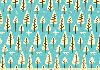 White cartoon trees pattern - vector gratuit #329739