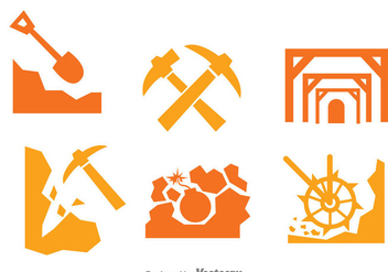 Mining Worker Icons Set - vector gratuit(e) #329749