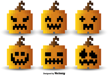 Pixel orange pumpkins - Free vector #329789