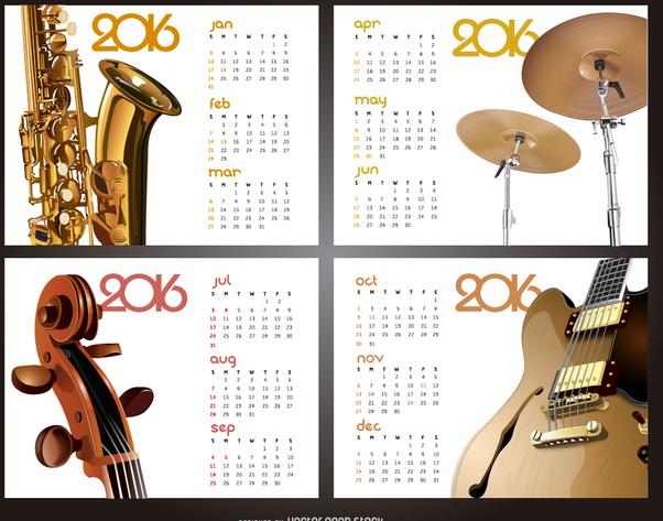 Music 2016 calendar - vector #329839 gratis