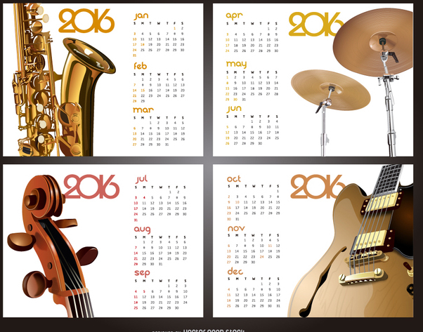 Music 2016 calendar - Free vector #329839