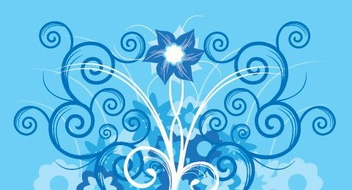 Flower Swirls Blue Background - Free vector #330179