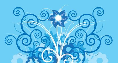 Flower Swirls Blue Background - vector gratuit(e) #330179