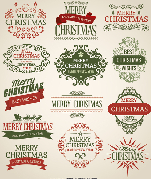 Christmas emblem set - Free vector #330189