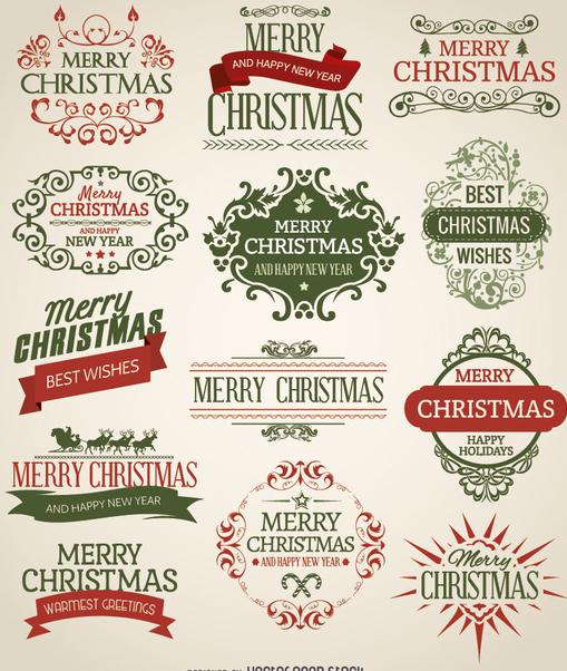 Christmas emblem set - бесплатный vector #330189