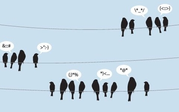 Birds Tweeting on Wire Lines - Free vector #330209