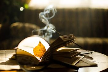Autumn yellow leaves through a magnifying glass and incense sticks and book - бесплатный image #330399