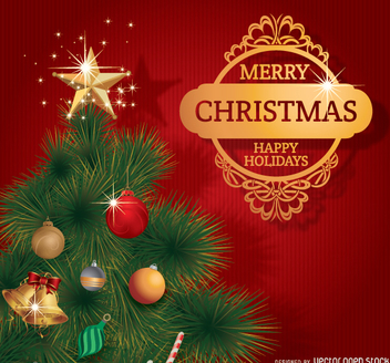 Merry Christmas tree with golden badge - Free vector #330809
