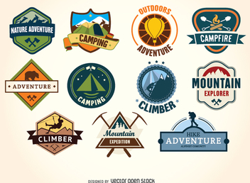 Retro Vintage hiking and camping label badges - Free vector #330819