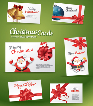 Set of beautiful Chrismas Card - Free vector #330829