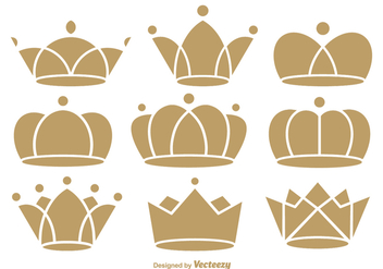 Flat crown icons - vector gratuit #331759