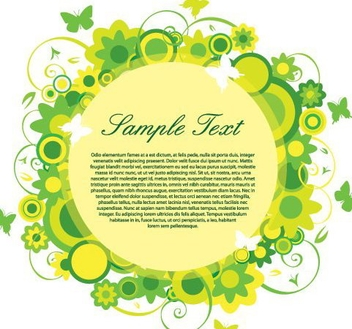 Swirling Floral Green Circle Banner - vector gratuit(e) #332419