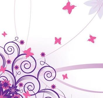 Purple Corner Swirls with Butterflies - Free vector #332429