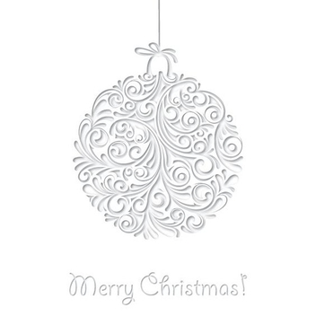 White Ornamented Christmas Card - Kostenloses vector #332519