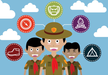 Boy Scout Illustration Vector - Free vector #332609