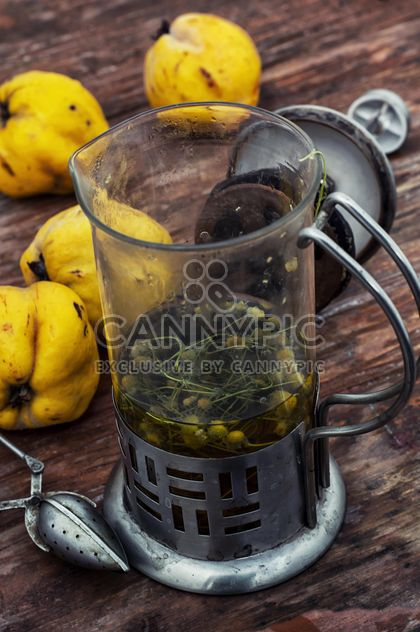 Still life of metal teapot and yellow pears - Free image #332779