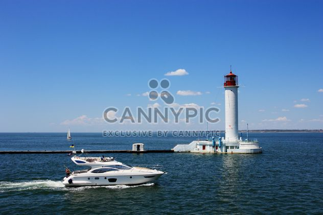 white yacht on a blue sea - Free image #333269