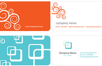 Swirls Squares Simple Business Card - Free vector #333539