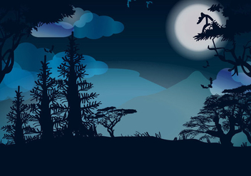 Moon Night Vector - Free vector #334409