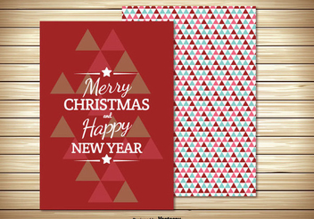 Two Parts Retro Christmas Card - vector gratuit #334459