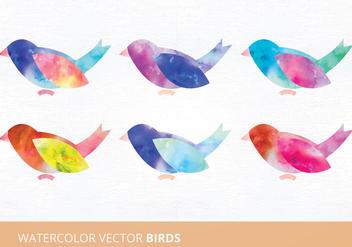 Watercolor Birds Vector Illustration - Free vector #335489