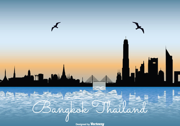 Bangkok Skyline Illustration - vector gratuit #335499