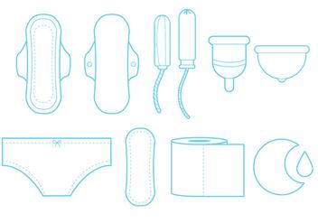 Feminine Hygiene Line Art Icon Set - Free vector #335509