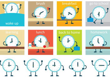 Vector Clock Schedule - Free vector #335579