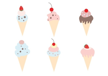 Set of Ice Cream Cone Vectors - Free vector #335619