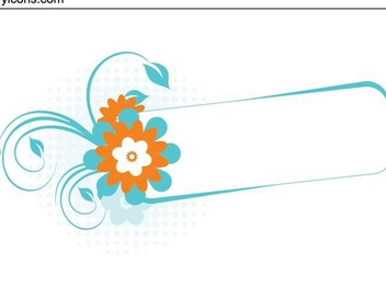 Swirling Floral Frame Turquoise Banner - Free vector #335659