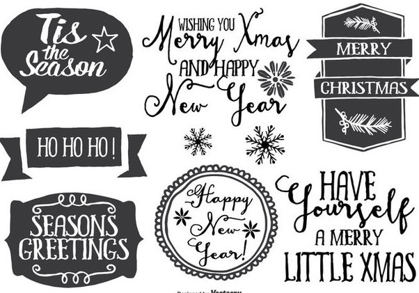 Hand Drawn Christmas Label Set - Free vector #335829