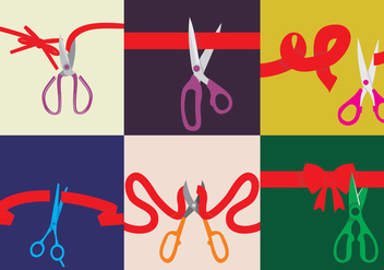Various Ribbons Cutting Vectors - Free vector #336009