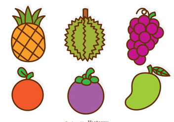 Fruits Cartoon Icons - Kostenloses vector #336129
