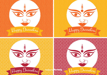 Happy Dussehra Label Set - Free vector #336179