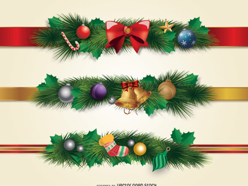 Christmas borders ornament - Free vector #336379