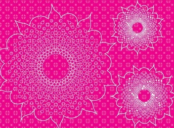 Pink Floral Pattern with Ornaments - Free vector #336419