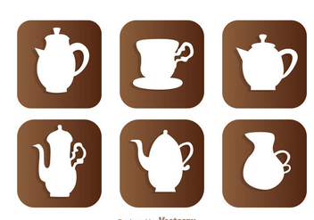 Arabic Coffee Pot White Icons - vector gratuit #336849