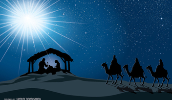 Christmas Nativity scene in the manger birth of jesus, Mary, Joseph and three wise men - Free vector #336979