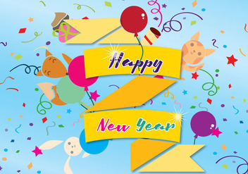 Happy New Year Card - Free vector #337069