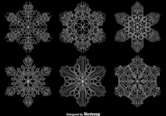Ornamental Geometric Snowflakes - Free vector #337119