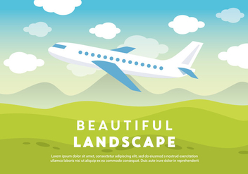Free Beautiful Landscape Vector Backround with Airplane - Kostenloses vector #337249