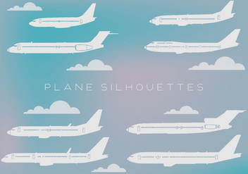 Free Set of Different Kind of Airplanes Silhouettes Vector - Kostenloses vector #337329