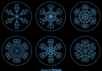 Christmas Snowflake Ornament Circles - Free vector #337399