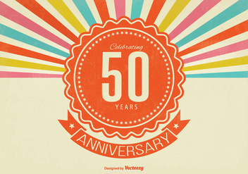 Retro Style 50th Anniversary Illustration - бесплатный vector #338109